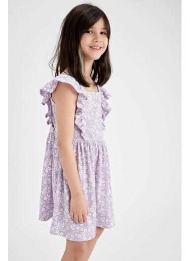 DeFacto Kız Çocuk Volanlı Kolsuz Elbise Mor